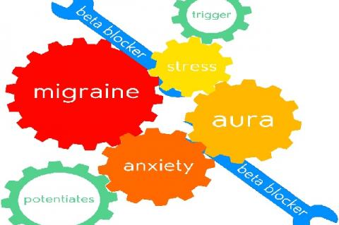The vicious cycle of migraine—stress triggers an aura, which increases anxiety, and in turn potentiates the progression and interpretation of pain, leading to a fullblown migraine